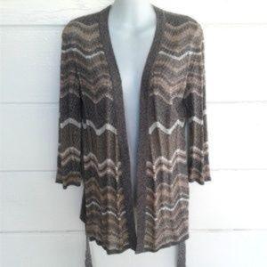 Boston Proper Gray Silk Blend Cardigan Metallic S